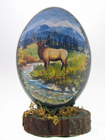 Elk painted Emu Egg || Wild Rose Emu Ranch