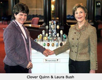Clover Quinn and First Lady Laura Bush || Wild Rose Emu Ranch